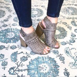 Maurices Vegan Leather Taupe Heeled Sandal